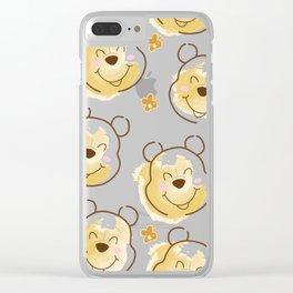 Inspired Pooh Bear surrounded with bees Pattern on White background Clear iPhone Case