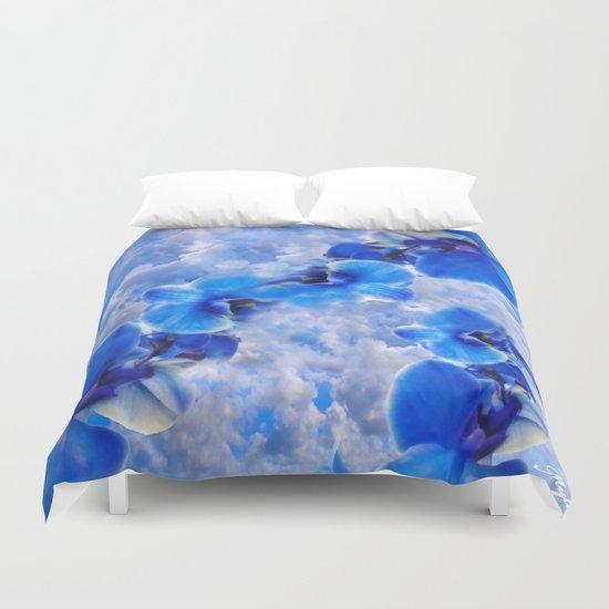 Orchids Blue Duvet Cover