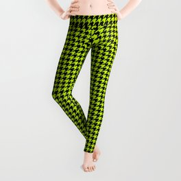 Large Slime Green and Black Hell Hounds Tooth Check Leggings