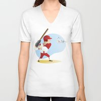 baseball V-neck T-shirts featuring Baseball! by Dues Creatius