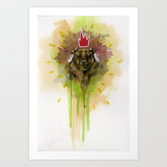 Bear with Red Crown Art Print