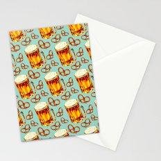 Beer & Pretzel Pattern Stationery Cards