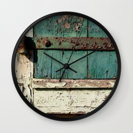 Old Wood an Rusty Grunge Barn Door Wall Clock