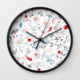 Red Blue Pink Watercolor Florals Wall Clock