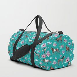 Horse Pattern, Floral Print, Turquoise, Little Girls Room, Horses Duffle Bag