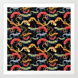 Vector graphic beautiful pattern of colored Salamander Art Print