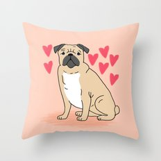 Pug valentintes day cute gift idea cell phone case with pug greeting card pugs small dog breeds  Throw Pillow