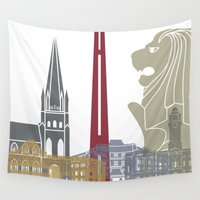 singapore Wall Tapestries featuring Singapore skyline poster by Paulrommer
