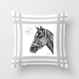 Affirmed (US) Thoroughbred Stallion Throw Pillow