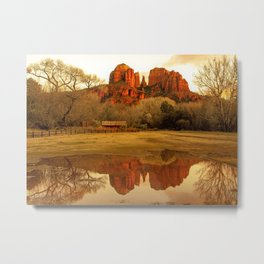 Cathedral Rock Sedona Rainy Days by Reay of Light Metal Print