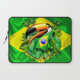 Toco Toucan with Brazil Flag Laptop Sleeve