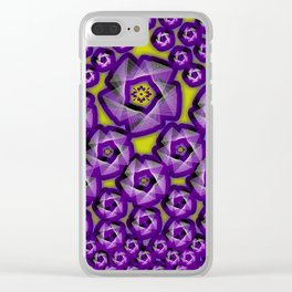Floral fraktal, purple Clear iPhone Case