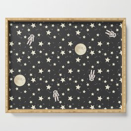 Space - Stars Moon and Astronauts on black Serving Tray