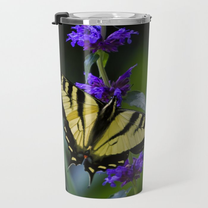 Butterfly on a Purple Flower Travel Mug