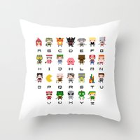 warcraft Throw Pillows featuring Video Games Pixel Alphabet by PixelPower