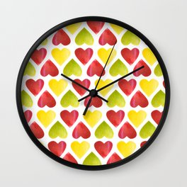 Apple colorful hearts pattern Wall Clock