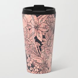 Whimsical rose gold hand drawn floral image Travel Mug