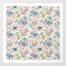 Spring Birds and Florals Art Print
