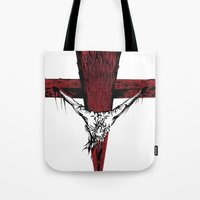 jesus Tote Bags featuring Jesus by Robert Cooper