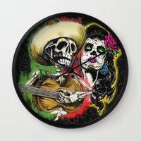 dia de los muertos Wall Clocks featuring Dia de Los Muertos by Kevin Rogerson
