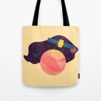 katamari Tote Bags featuring Satellite by badOdds