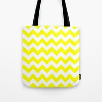 chevron Tote Bags featuring Chevron (Yellow/White) by 10813 Apparel