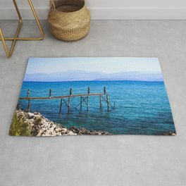 Small Pier In Corfu Greece Ultra HD Rug