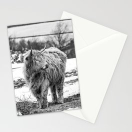 Highland Cow Black And White Stationery Cards