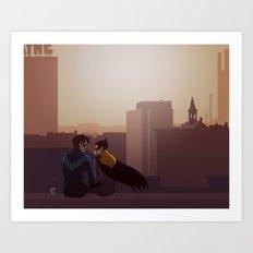 Coffee Date in Gotham Art Print