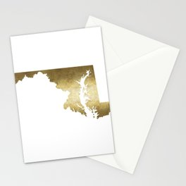 maryland gold foil state map Stationery Cards