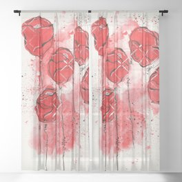 Crimson and Cream Splotch Floral Sheer Curtain