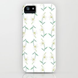 white lily watercolor iPhone Case