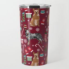 Austrian Cattle Dog red and blue merle christmas presents holiday dog breed pattern pet friendly Travel Mug