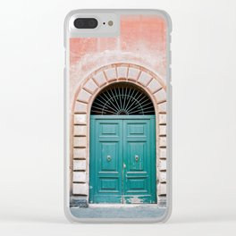 Turquoise Green door in Trastevere, Rome. Travel print Italy - film photography wall art colourful. Clear iPhone Case