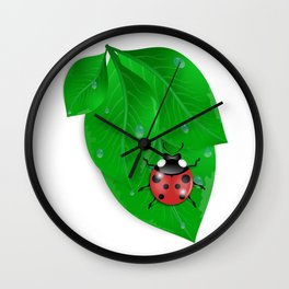 Green leaves with ladybird and water drops Wall Clock