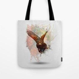 Water Splash Red Tail Hawk Tote Bag