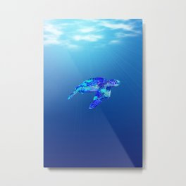 Underwater Sea Turtle Metal Print