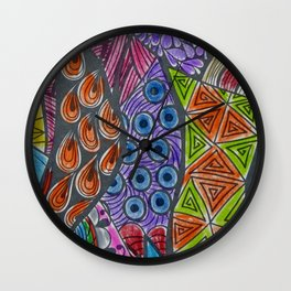 Geometrical orange blue watercolor shapes peacock feathers Wall Clock