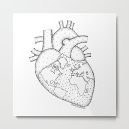 Wanderer's Heart Earth anatomy Metal Print