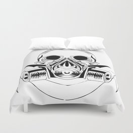 skull wearing a gas mask. vector with signature Duvet Cover