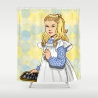 toddler Shower Curtains featuring Alice by Tom Tierney Studios