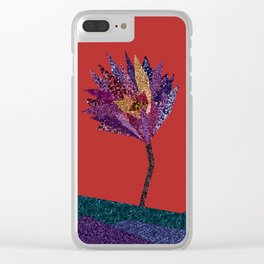Purple flower with gold streak (red) Clear iPhone Case