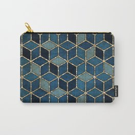 Shades Of Turquoise Green & Blue Cubes Pattern Carry-All Pouch