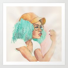 Minty Curls Don't Care Art Print