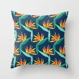 Bird of Paradise Blue Throw Pillow