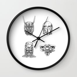 Robots Illustration Wall Clock