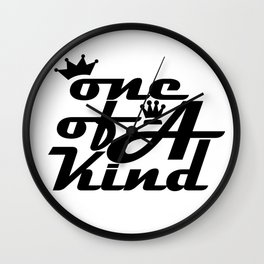 society6 typography 1 of a kind black text graphical Wall Clock