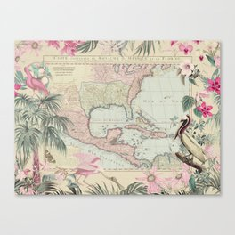 Tropical Caribbean Map Illustration With Pelican And Exotic Flowers Canvas Print