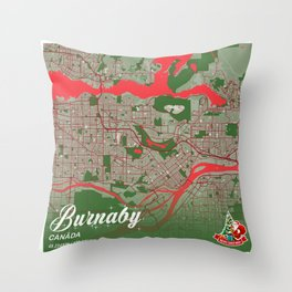 Burnaby - Canada Christmas Color City Map Throw Pillow