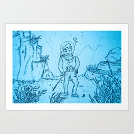 Gentlemanly Pursuits Beneath the Sea Art Print